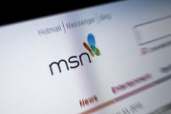 MSN Main page internet screen Stock Image