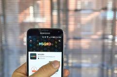 MSQRD app sul telefono di androide Fotografia Stock Libera da Diritti