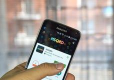 MSQRD app sul telefono di androide Fotografie Stock Libere da Diritti