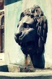 Mässingsspringbrunnstaty av ett lejonhuvud Arkivfoto