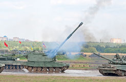 Msta-S artillery shoots Stock Photography