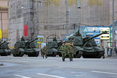 Msta-S howitzer. MOSCOW, RUSSIA - MAY 05, 2014: Rehearsal celebration of the 69th anniversary of the Victory Day (WWII). Military equipment on Tverskaya street stock photos