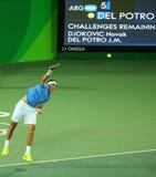Mästare Juan Martin Del Porto för storslagen Slam av Argentina i handling under mäns matchen för singlar av Rio de Janeiro 2016 O Royaltyfri Bild