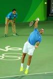 Mästare Juan Martin Del Porto för storslagen Slam av Argentina i handling under mäns matchen för singlar av Rio de Janeiro 2016 O Arkivbild