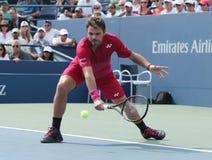 Mästare Stanislas Wawrinka för storslagen Slam av Schweiz i handling under hans runda match fyra på US Open 2016 Arkivfoton