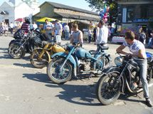 Mstyora, 11.2012 Ρωσία-Αυγούστου: Παλαιά μοτοσικλέτα έκθεσης στην ημέρα της πόλης Στοκ φωτογραφία με δικαίωμα ελεύθερης χρήσης