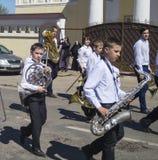 Mstyora, Rusia-mayo 9,2015: Procesión festiva en honor del día de la victoria Foto de archivo libre de regalías