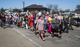 Mstyora, Russia-maggio 9,2015: Processione festiva in onore del giorno della vittoria Immagini Stock
