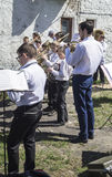 Mstyora,Russia-May 9,2015: Children play on music instrument on holiday in honour of Day of. Children play on music instrument on holiday in honour of day of the Stock Images