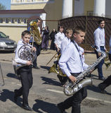 Mstyora,Russia-May 9,2015: Festive procession in honour of day of the Victory. Festive procession in honour of day of the Victory 9 May in city Mstyora,Russia Royalty Free Stock Photo