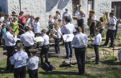 Mstyora,Russia-May 9,2015: Group musician plays on holiday in honour of day of the Victory. Group musician plays on holiday in honour of day of the Victory in Royalty Free Stock Photos