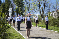 Mstyora,Russia-May 9,2015: Guard of honour at festive day of the Victory beside monument wa. Teenager cost(stand) in guard of honour beside monument warrior in Royalty Free Stock Photo