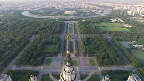 MSU Moscow State University. Moscow city center and Luzhniki stadium at background. stock video