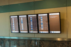 MSY, écrans de visualisation de l'information de vol Photographie stock libre de droits