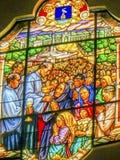 Msza Trzy dzieci witrażu Chłopska dama Różańcowy Fatima Pora Zdjęcie Royalty Free