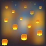 Mszalna grupa latający chińscy lampiony Zdjęcie Stock