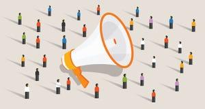 Mszalna marketingowa komunikacja grupa ludzi głośnika reklamy jawny zawiadomienie royalty ilustracja