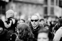 Mszalny jedność wiec trzymający w Strasburg podąża niedawnego terrorysty a Fotografia Stock