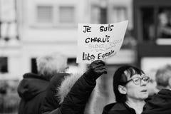 Mszalny jedność wiec trzymający w Strasburg podąża niedawnego terrorysty a Obraz Royalty Free