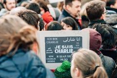 Mszalny jedność wiec trzymający w Strasburg podąża niedawnego terrorysty a Obrazy Stock