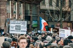 Mszalny jedność wiec trzymający w Strasburg podąża niedawnego terrorysty a Obrazy Royalty Free