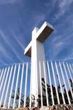 Mt与篱芭的螺旋十字架 库存照片