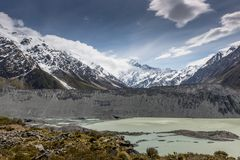 Mt厨师国家公园,新西兰看法  免版税库存图片