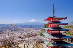 Mt富士和在日本春季日本Cal的樱花 免版税图库摄影