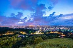 从Mt的夜视图 Ao冯,台中,台湾 免版税库存照片