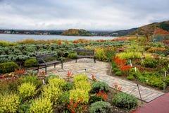 mt的观光的位子 富士、Kawaguchiko湖和庭院 免版税库存图片