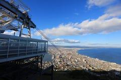 Mt缆车  有都市风景的函馆索道 免版税库存照片