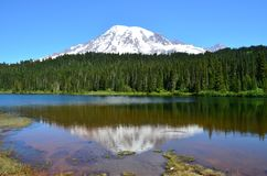 Mt Дождливый от озера отражени стоковые фотографии rf
