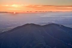 Mt Заход солнца парка штата Диабло от пика орла Contra Costa County, Калифорния Стоковое Фото