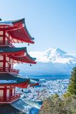 Mt Фудзи с пагодой Chureito в осени, Fujiyoshida Стоковые Фотографии RF
