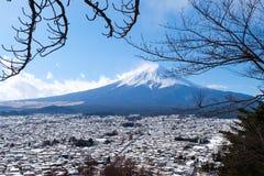 Mt Фудзи san в снеге, Японии Стоковое фото RF