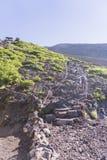 Mt 上升的富士,下降的吉田足迹 库存图片