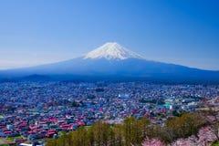Mt 与樱花(佐仓)的富士在春天,吉田市, Ja 免版税库存照片