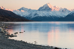 Mt 厨师由太阳点燃了,新西兰第一光芒  库存照片