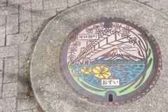 Mt 富士、桥梁和湖Kawaguchiko la人孔盖的  免版税库存图片