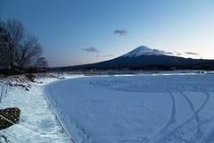 Mt 富士在冬天,日本 库存图片
