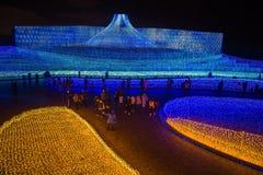 Mt 富士LED在Nabana不佐藤公园,名古屋,日本庭院里  图库摄影