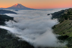 Mt. Adam sunrise with clouds. Royalty Free Stock Photo