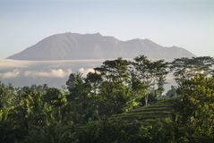 Mt Agung od wioski Sidemen, Bali Obrazy Royalty Free