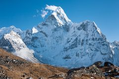Mt. Ama Dablam, Dingboche, Solu Khumbu, Nepal. View of Ama Dablam from trekking route to Kongma La, Dingboche, Solukhumbu, Nepal Royalty Free Stock Photography