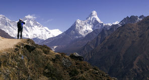 Mt. Ama Dablam and trekker Royalty Free Stock Photo