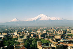 Mt. Ararat at Yerevan, Armenia. View of the majestic Mount Ararat from Yerevan, Armenia...legendary resting place of Noah's ark royalty free stock photo