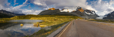 Mt. Athabasca Glacier Lake Sunset Icefields. Mt. Athabasca, Glacier and Lake by sunset. Jasper Banff, Canadian Rockies Icefields Parkway Panorama stock photography