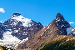 Canadian Rockies on the Icefields Parkway in Jasper National Par. Mt Athabasca and Hilda Peak as viewed from Parker Ridge hiking trail in Jasper National Park on stock image