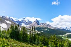 Mt Athabasca at Parker Ridge on the Icefields Parkway in Jasper. Mount Athabasca with its dense glacier as viewed from Parker Ridge hiking trail on the Icefields royalty free stock image