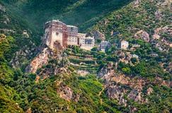 Mt Athos Grekland, helig kloster av Simonos Petra (Simonopetra) Arkivfoton